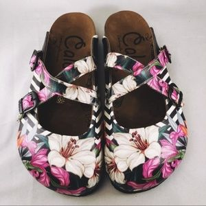 Calceo Comfort Flowers Stripes Clogs Mules EUR 37